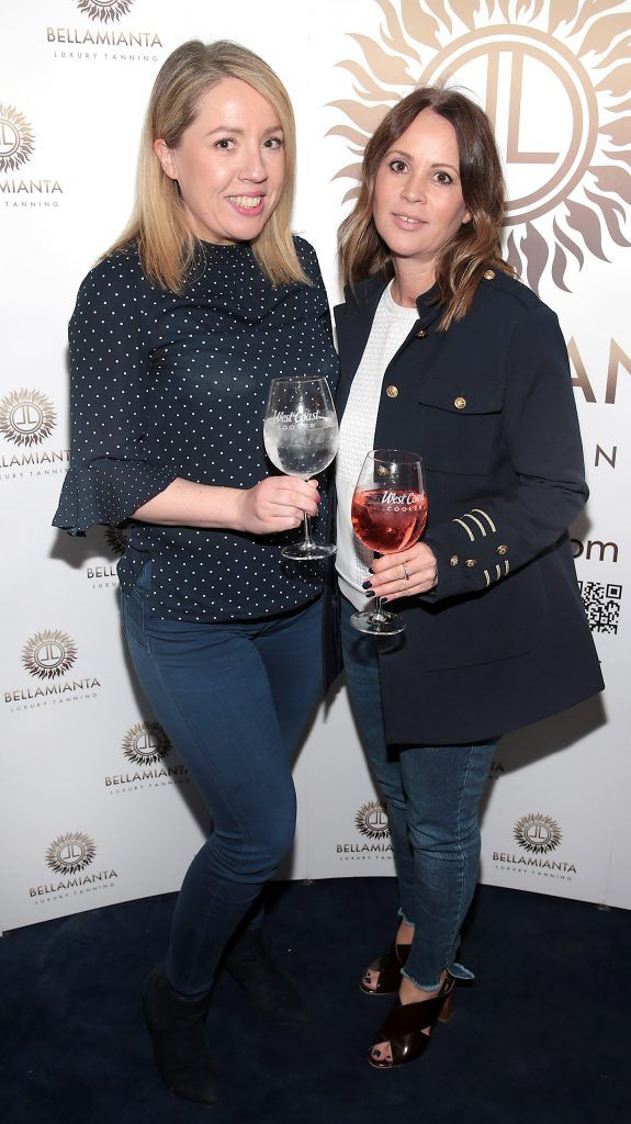 Laura Bowe and Tara Farrell pictured at the Bellamianta Tan summer launch party at Number 22 South Anne Street, Dublin. Picture: Brian McEvoy