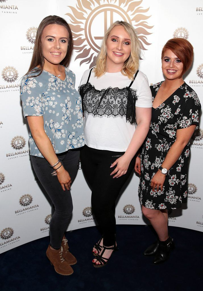 Kirsty McCaffrey, Katie Wheeler and Aimee Edmonds pictured at the Bellamianta Tan summer launch party at Number 22 South Anne Street, Dublin. Picture: Brian McEvoy
