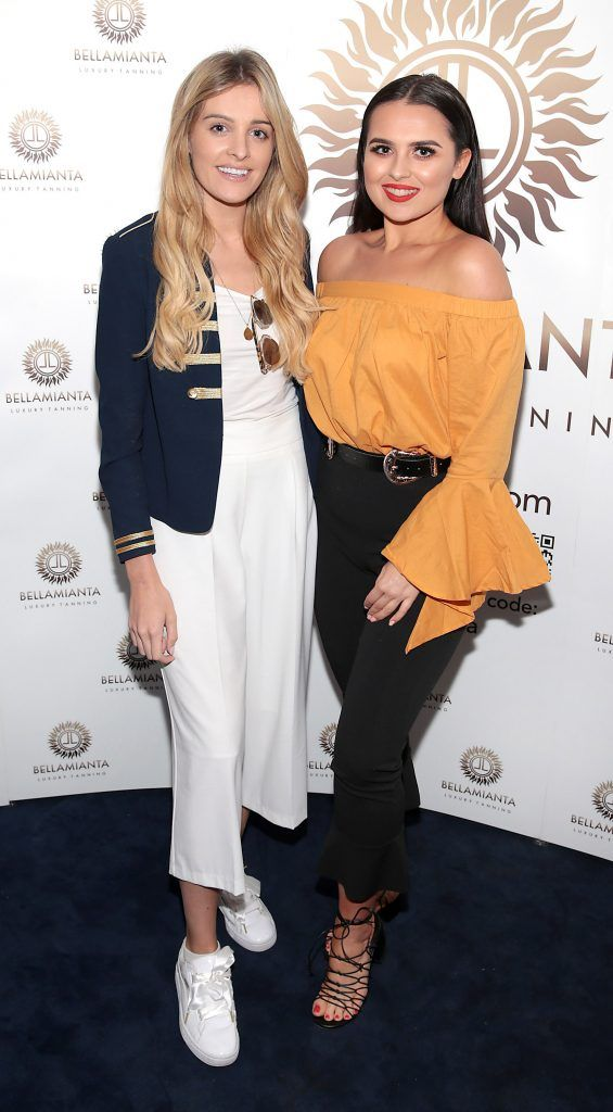 Louise Cooney and Aideen Murphy pictured at the Bellamianta Tan summer launch party at Number 22 South Anne Street, Dublin. Picture: Brian McEvoy
