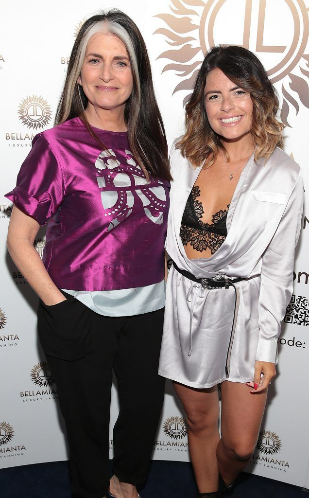Cathy O Connor and Lauren Arthurs pictured at the Bellamianta Tan summer launch party at Number 22 South Anne Street, Dublin. Picture: Brian McEvoy