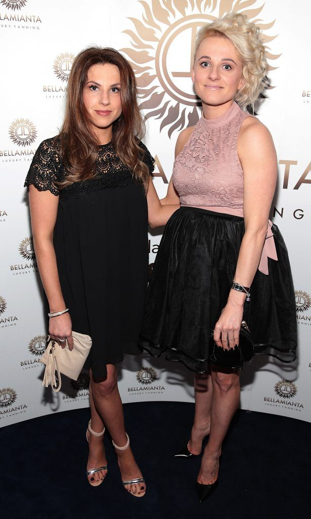 Gabriela Franczak and Magda Czajor pictured at the Bellamianta Tan summer launch party at Number 22 South Anne Street, Dublin. Picture: Brian McEvoy