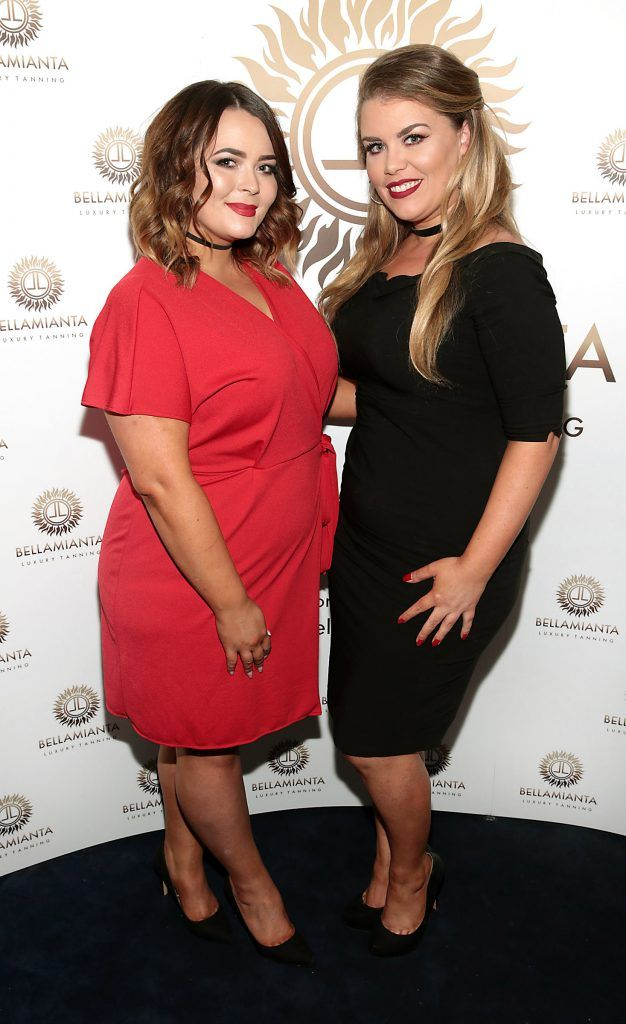 Charlotte Walker and Sue Kelly pictured at the Bellamianta Tan summer launch party at Number 22 South Anne Street, Dublin. Picture: Brian McEvoy