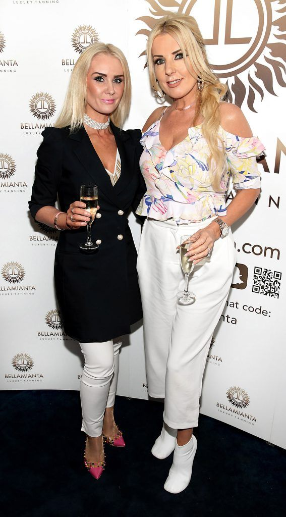 Aisling Holly and Roz Flanagan pictured at the Bellamianta Tan summer launch party at Number 22 South Anne Street, Dublin. Picture: Brian McEvoy