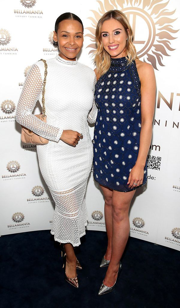 Samantha Mumba and Annette Heagney  pictured at the Bellamianta Tan summer launch party at Number 22 South Anne Street, Dublin. Picture: Brian McEvoy