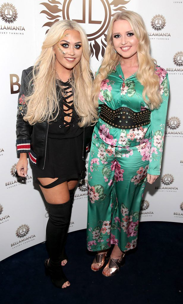 Jade Mullett and Laura Mullett pictured at the Bellamianta Tan summer launch party at Number 22 South Anne Street, Dublin. Picture: Brian McEvoy