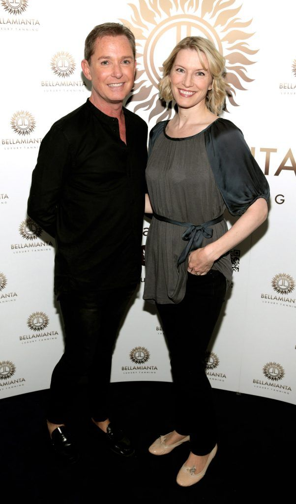Stephen Kelly and Pamela Flood pictured at the Bellamianta Tan summer launch party at Number 22 South Anne Street, Dublin. Picture: Brian McEvoy