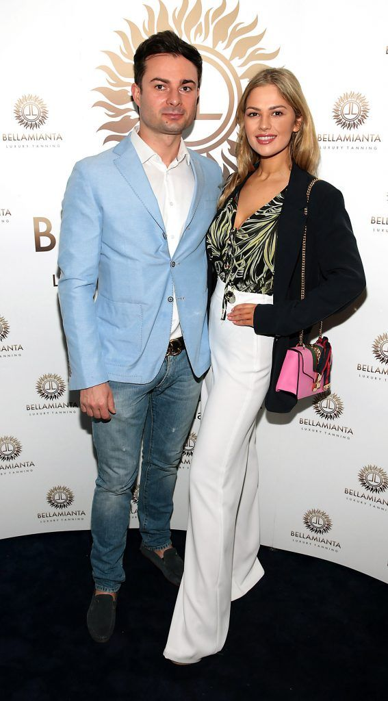Bogdan Petric and Natalia Petric pictured at the Bellamianta Tan summer launch party at Number 22 South Anne Street, Dublin. Picture: Brian McEvoy