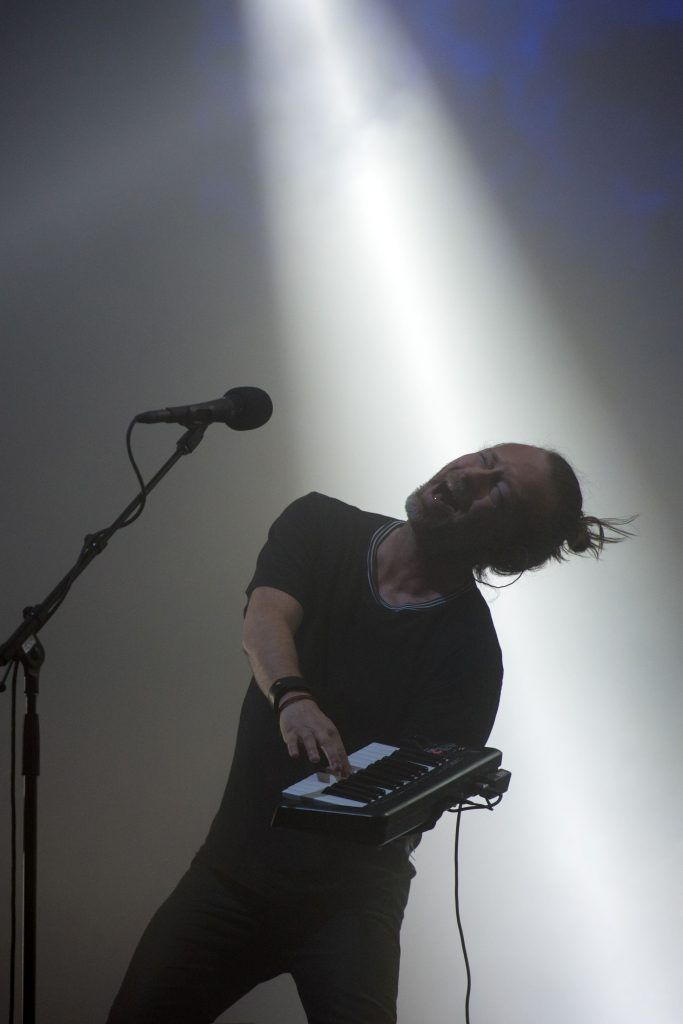 Thom Yorke of Radiohead performs on the Pyramid Stage at the Glastonbury Festival of Music and Performing Arts on Worthy Farm near the village of Pilton in Somerset, South West England, on June 23, 2017. (Photo by OLI SCARFF/AFP/Getty Images)
