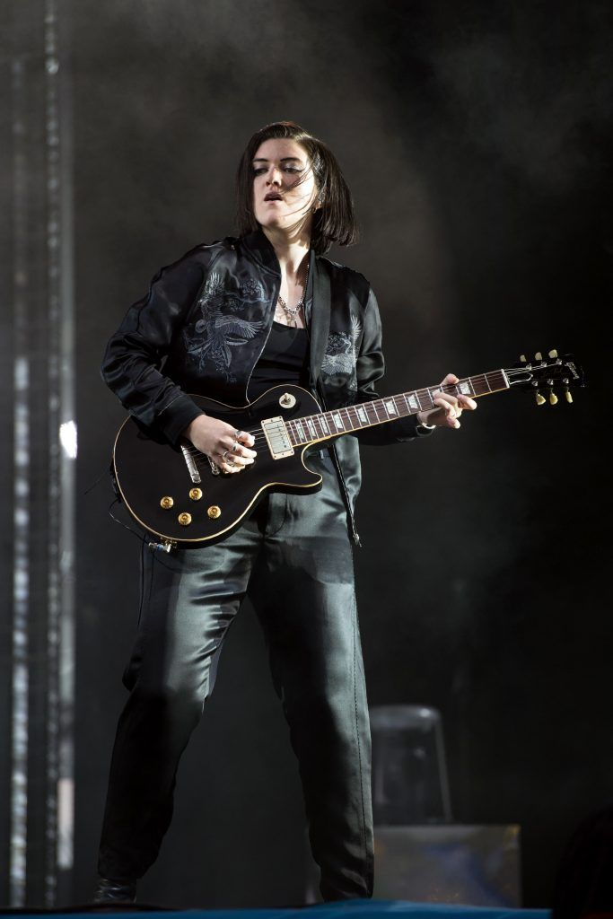 Romy Madley Croft of The xx performs on the Pyramid stage at the Glastonbury Festival of Music and Performing Arts on Worthy Farm near the village of Pilton in Somerset, south-west England on June 23, 2017. (Photo by OLI SCARFF/AFP/Getty Images)