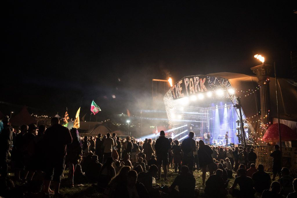 People gather for The Flaming Lips to perform at The Park at the Glastonbury Festival site at Worthy Farm in Pilton on June 23, 2017 near Glastonbury, England. (Photo by Matt Cardy/Getty Images)