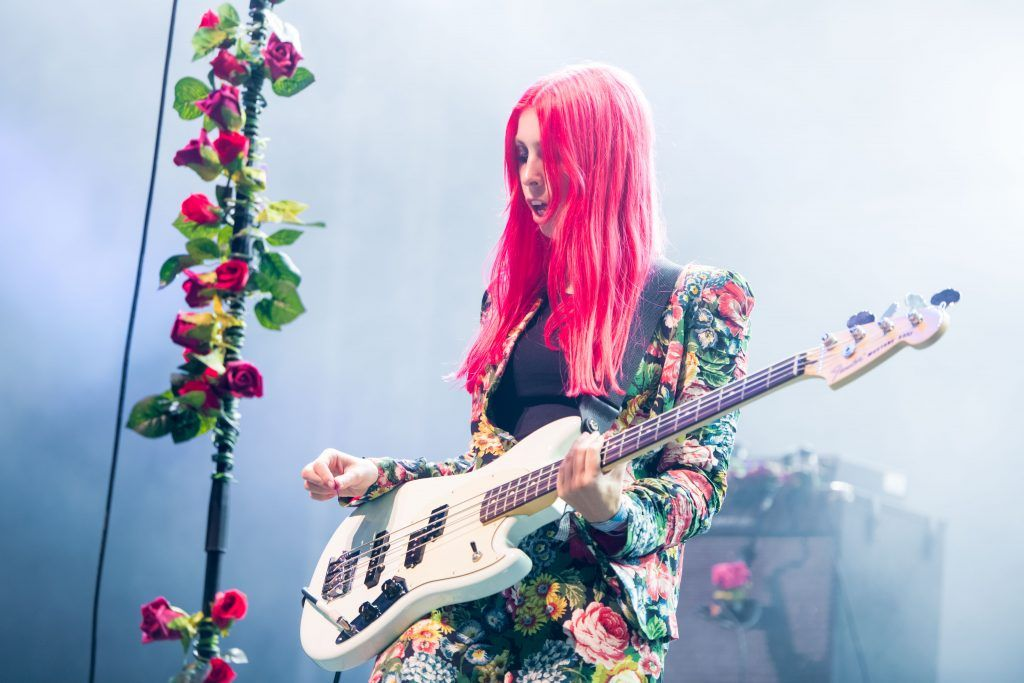 """Chloe Little of 'Inheaven"""" performs on the Other Stage during day 3 of the Glastonbury Festival 2017 at Worthy Farm, Pilton on June 24, 2017 in Glastonbury, England.  (Photo by Ian Gavan/Getty Images)"""