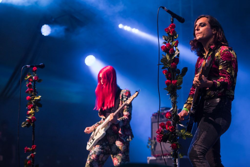 """Chloe Little and James Taylor of 'Inheaven"""" perform on the Other Stage during day 3 of the Glastonbury Festival 2017 at Worthy Farm, Pilton on June 24, 2017 in Glastonbury, England.  (Photo by Ian Gavan/Getty Images)"""