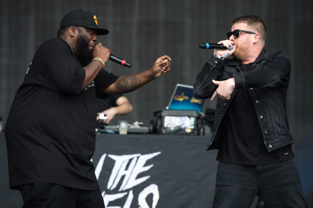 Killer Mike and El-P of Run the Jewels perform on day 3 of the Glastonbury Festival 2017 at Worthy Farm, Pilton on June 24, 2017 in Glastonbury, England.  (Photo by Ian Gavan/Getty Images)