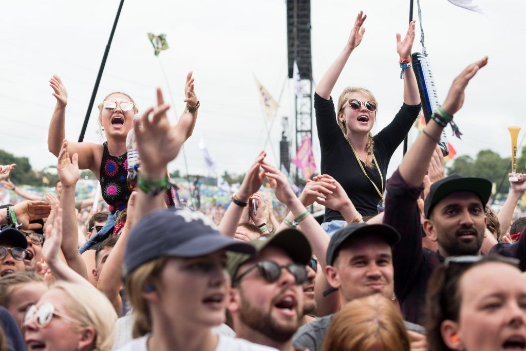 Fans watch Craig David perform on day 3 of the Glastonbury Festival 2017 at Worthy Farm, Pilton on June 24, 2017 in Glastonbury, England.  (Photo by Ian Gavan/Getty Images)