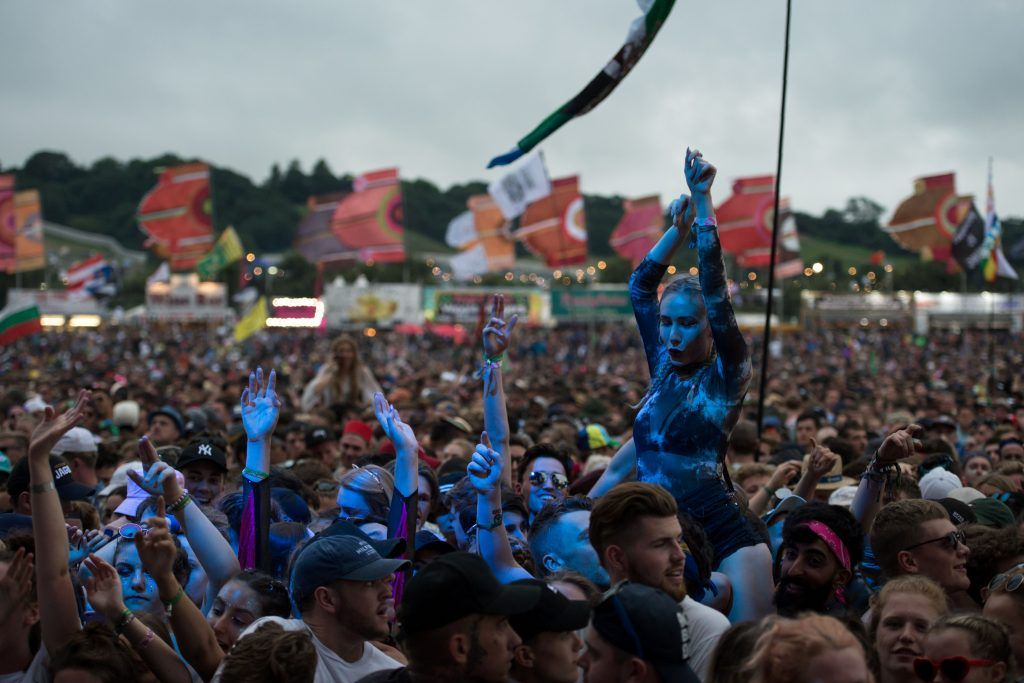 Fans listen as Michael Omari, known as 'Stormzy', performs on the Other Stage during the Glastonbury Festival of Music and Performing Arts on Worthy Farm near the village of Pilton in Somerset, southwest England, on June 24, 2017. (Photo by OLI SCARFF/AFP/Getty Images)