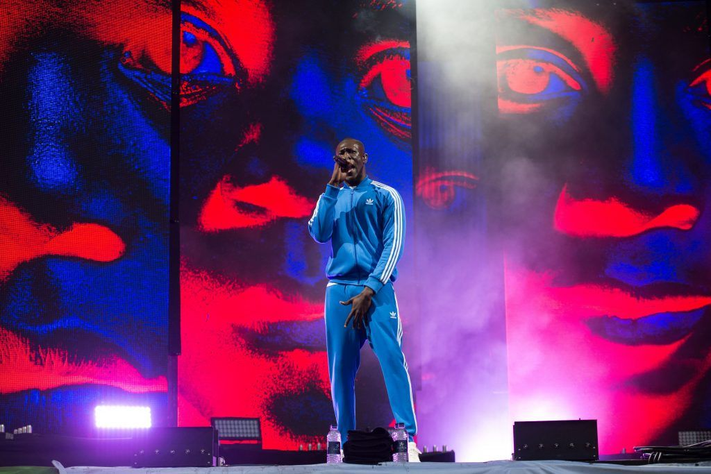 Michael Omari, known as 'Stormzy', performs on the Other Stage during the Glastonbury Festival of Music and Performing Arts on Worthy Farm near the village of Pilton in Somerset, southwest England, on June 24, 2017. (Photo by OLI SCARFF/AFP/Getty Images)