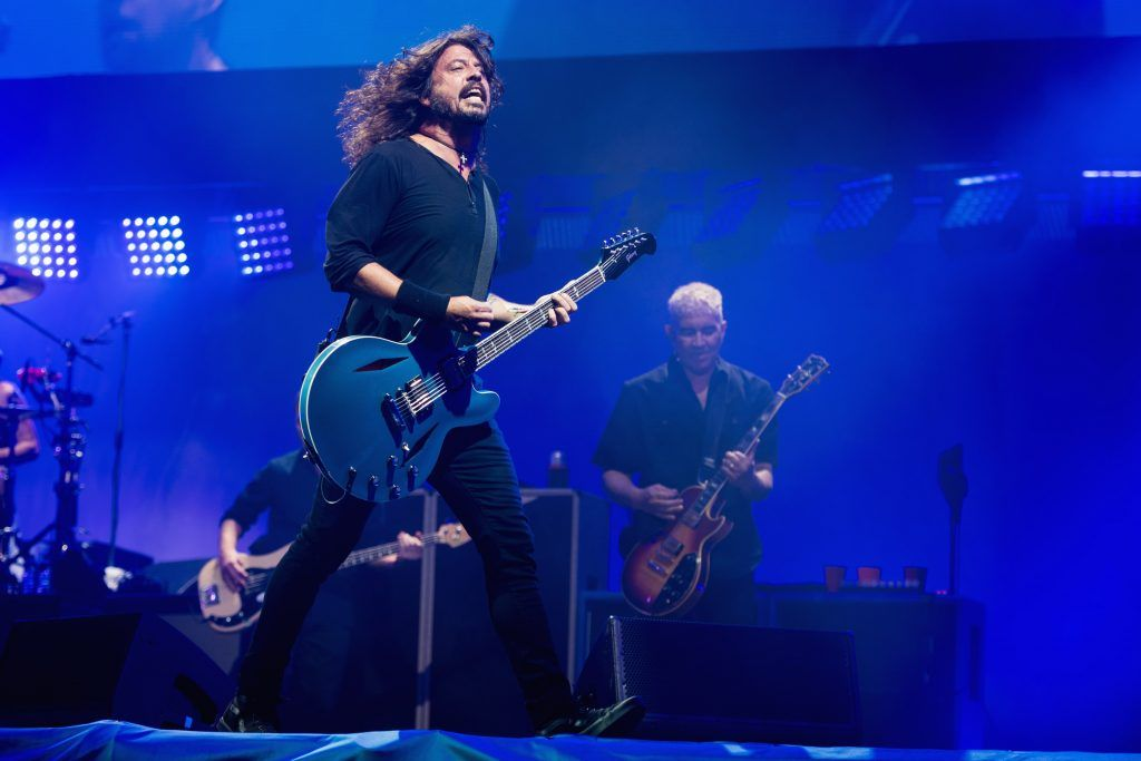 Dave Grohl  and Pat Smear of Foo Fighters perform on day 3 of the Glastonbury Festival 2017 at Worthy Farm, Pilton on June 24, 2017 in Glastonbury, England.  (Photo by Ian Gavan/Getty Images)