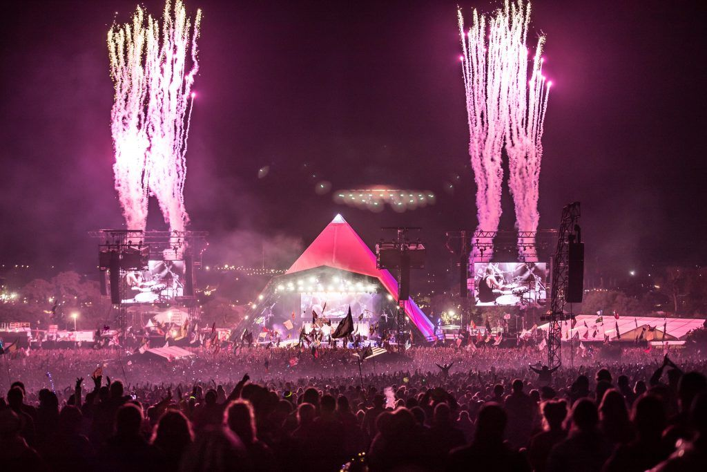 Fireworks mark the end of the Foo Fighters performance at the Glastonbury Festival site at Worthy Farm in Pilton on June 24, 2017 near Glastonbury, England. (Photo by Matt Cardy/Getty Images)