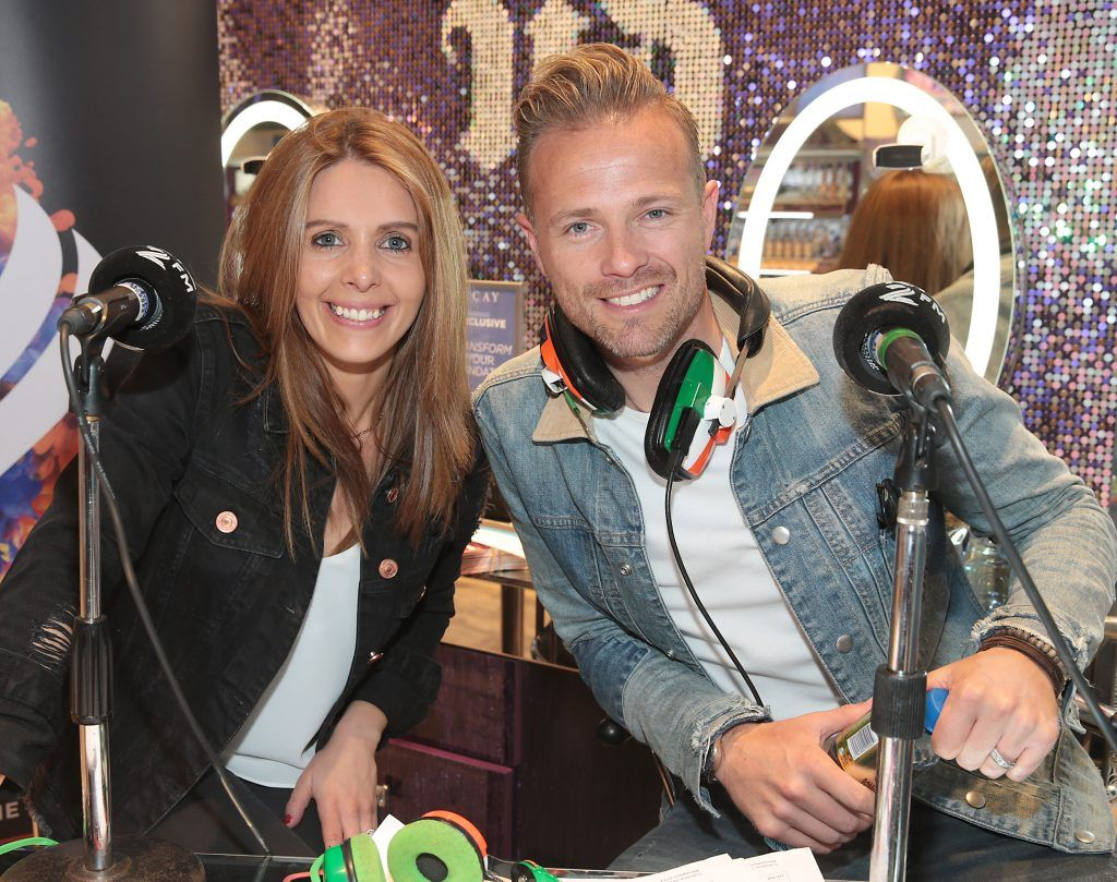 RTE 2FM'S 'The Nicky Byrne Show with Jenny Green' presenters Nicky Byrne and Jenny Greengets try their makeup skills on Carl Mullen as they broadcast live from the new Urban Decay Boutique in Grafton Street Dublin. Picture by Brian McEvoy