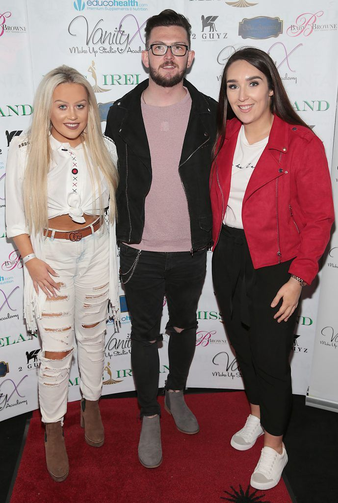 Jade Mullett, Dean Kenny and Denise Brophy at the Miss Ireland 2017 launch in association with Vanity X Make-Up Academy at Krystle Nightclub, Dublin. Photo by Brian McEvoy