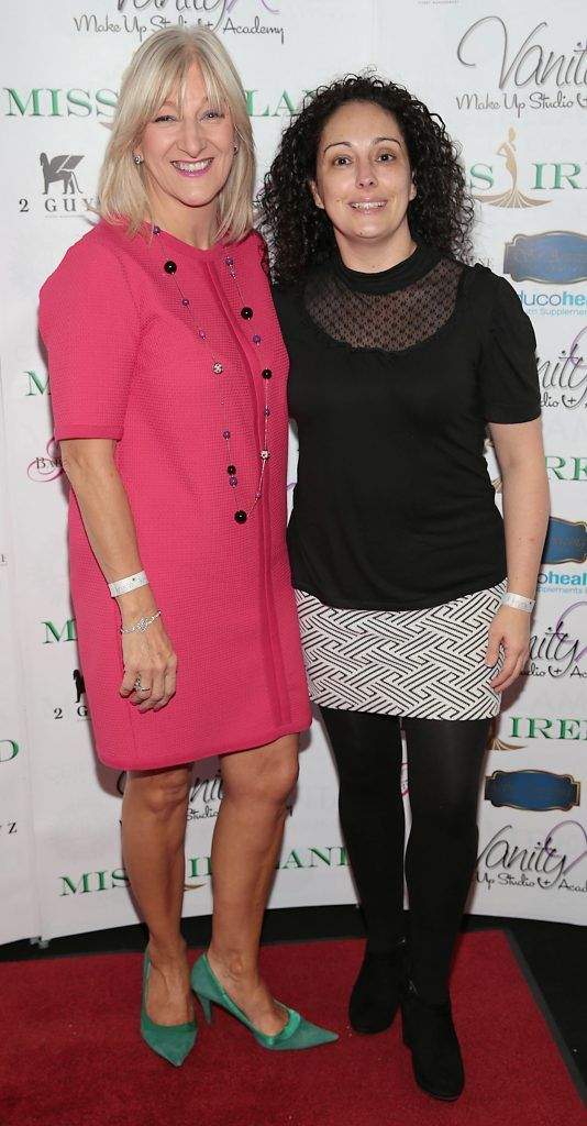 Frances Kavanagh and Maria Carron at the Miss Ireland 2017 launch in association with Vanity X Make-Up Academy at Krystle Nightclub, Dublin. Photo by Brian McEvoy