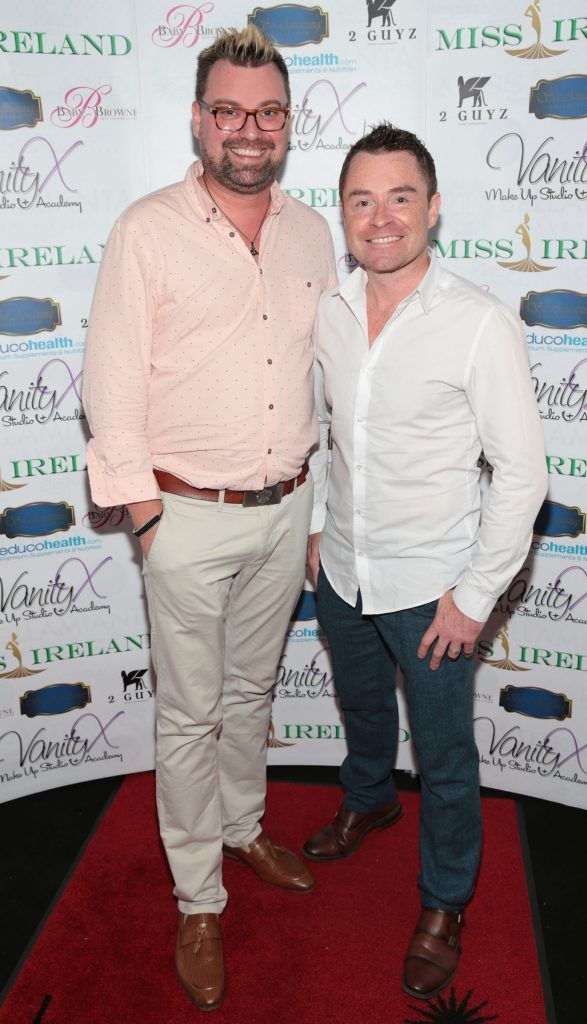 Brendan Scully and Sean Montague at the Miss Ireland 2017 launch in association with Vanity X Make-Up Academy at Krystle Nightclub, Dublin. Photo by Brian McEvoy