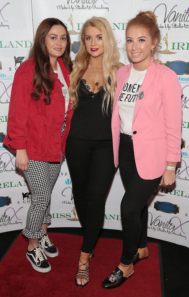Amy Kelly, Lorna Jane Campbell and Shauna Farrelly at the Miss Ireland 2017 launch in association with Vanity X Make-Up Academy at Krystle Nightclub, Dublin. Photo by Brian McEvoy