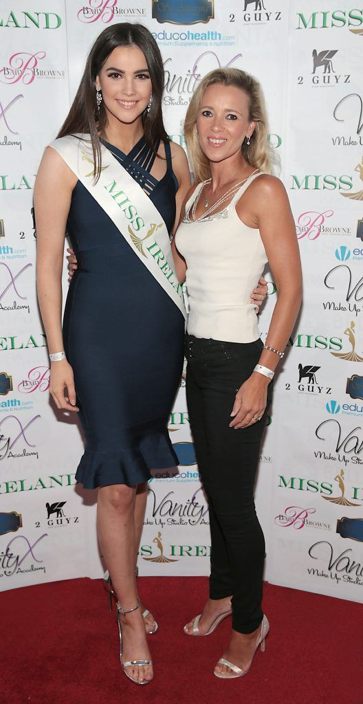 Miss Ireland 2016 Niamh Kennedy and Miss Ireland 1998 Vivienne Doyle at the Miss Ireland 2017 launch in association with Vanity X Make-Up Academy at Krystle Nightclub, Dublin. Photo by Brian McEvoy