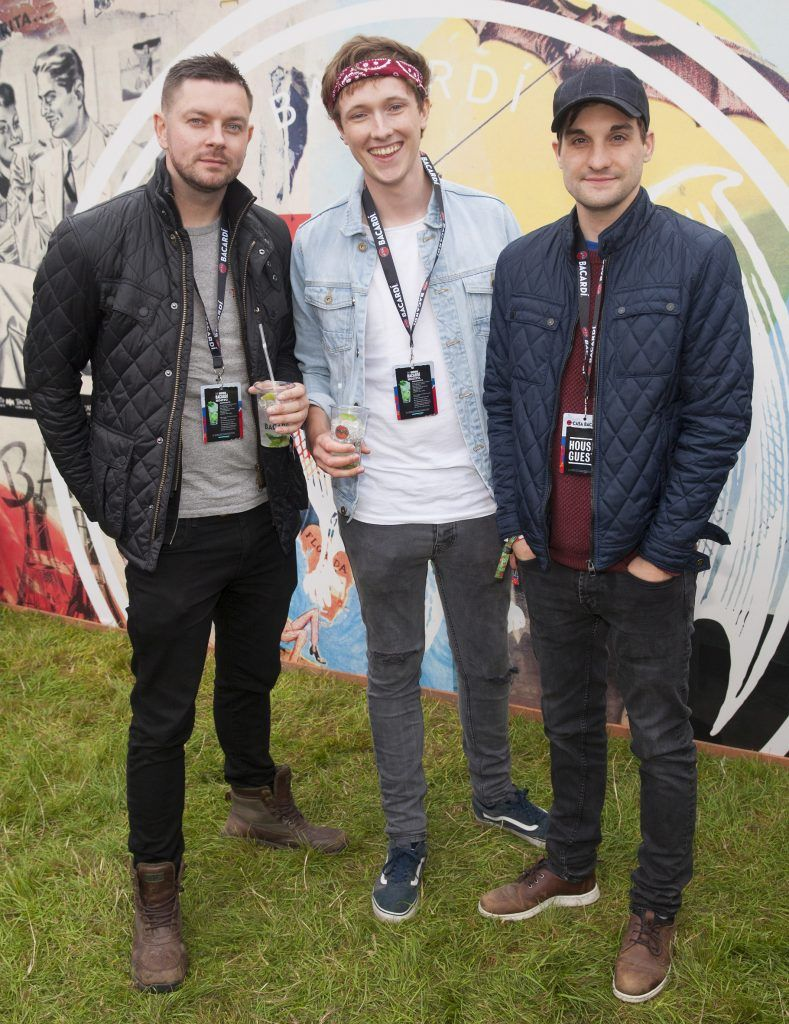 Pictured are Shane Gillen, Chef Adrian Martin and Greg O'Donoghue enjoying Stradbally's ultimate party at Casa Bacardi 2017. Bacardi rum returned to a sold out Electric Picnic, boasting a stellar line-up of international DJ's as well as top home grown Irish talent. Picture: Kinlan Photography.