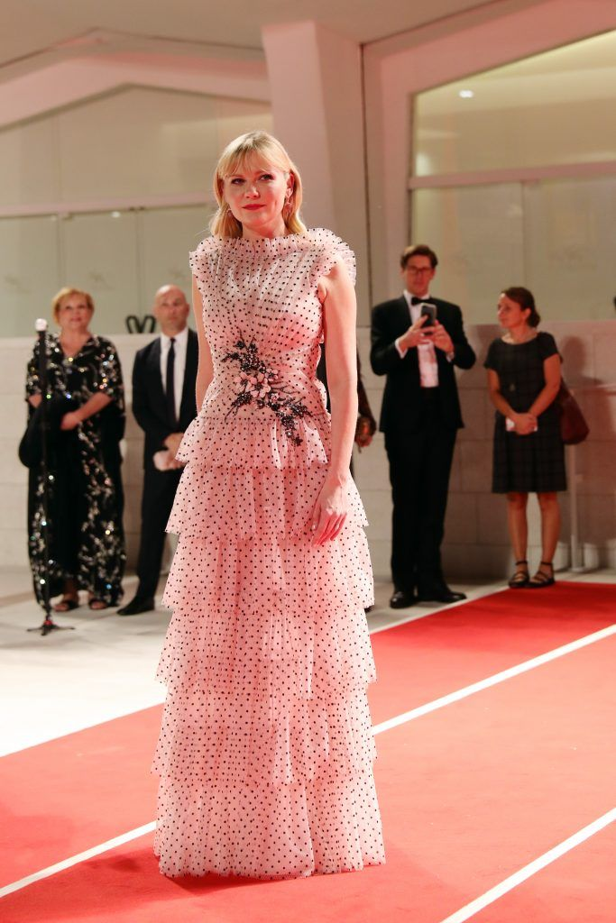 Kirsten Dunst from 'Woodshock' movie walks the red carpet ahead of the 'Three Billboards Outside Ebbing, Missouri' screening during the 74th Venice Film Festival at Sala Grande on September 4, 2017 in Venice, Italy.  (Photo by Vittorio Zunino Celotto/Getty Images)