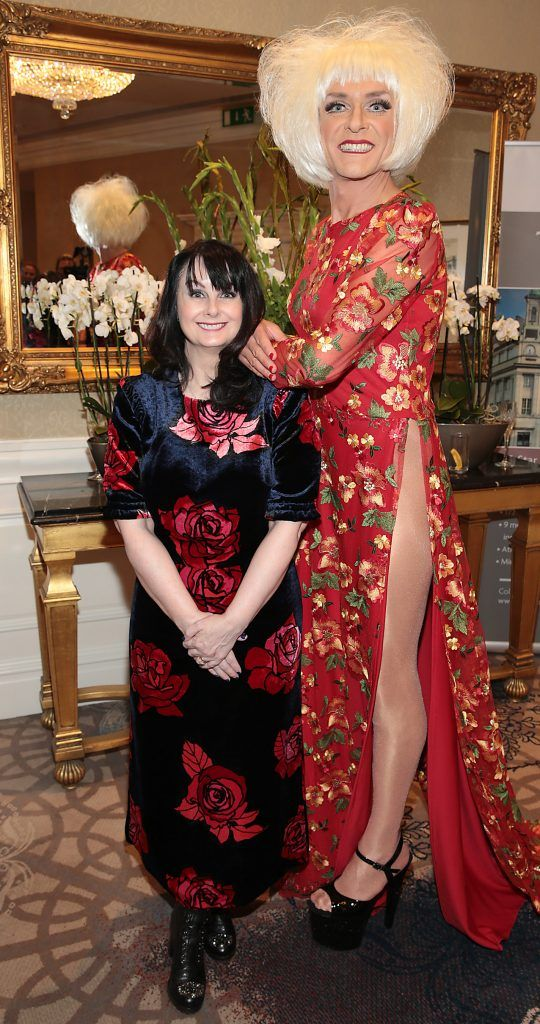 Author Marian Keyes and Miss Candy at the Shiseido International Charity Lunch and Fashion Show in aid of the Rape Crisis Centre hosted by catwalk queen Miss Candy at the Westin Hotel, Dublin. Picture by Brian McEvoy