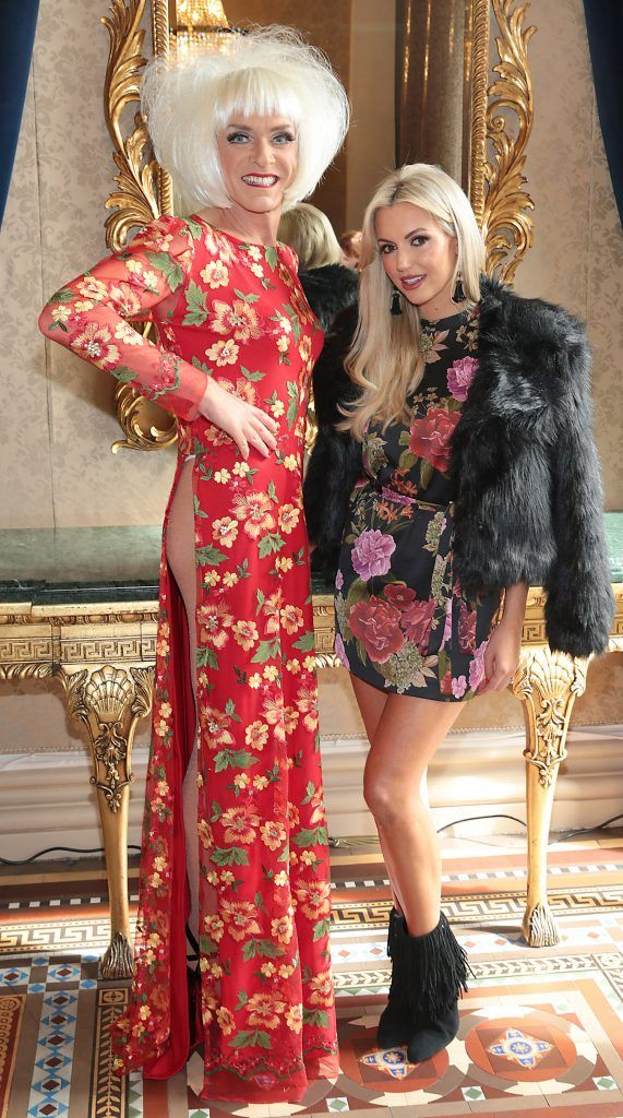 Miss Candy and Rosanna Davison at the Shiseido International Charity Lunch and Fashion Show in aid of the Rape Crisis Centre hosted by catwalk queen Miss Candy at the Westin Hotel, Dublin. Picture by Brian McEvoy