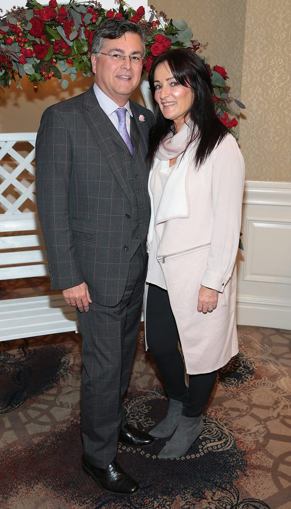 Peter Kenny and Gillian Sutton at the Shiseido International Charity Lunch and Fashion Show in aid of the Rape Crisis Centre hosted by catwalk queen Miss Candy at the Westin Hotel, Dublin. Picture by Brian McEvoy