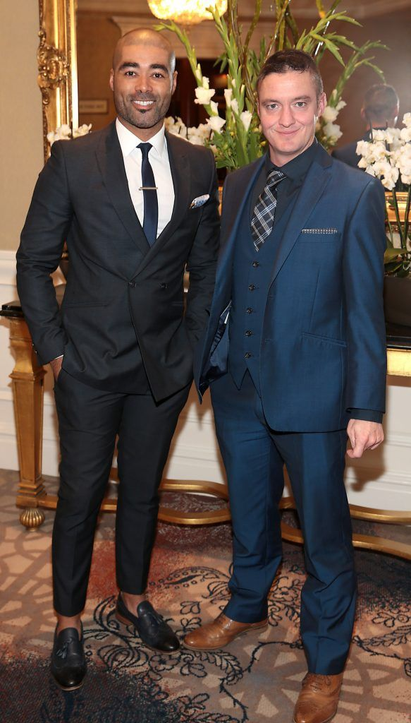 Luke Thomas and Ciaran Bernard at the Shiseido International Charity Lunch and Fashion Show in aid of the Rape Crisis Centre hosted by catwalk queen Miss Candy at the Westin Hotel, Dublin. Picture by Brian McEvoy