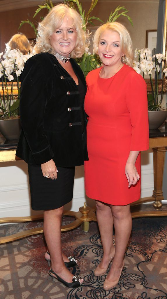 Sally Anne Clarke and Mandy Williams at the Shiseido International Charity Lunch and Fashion Show in aid of the Rape Crisis Centre hosted by catwalk queen Miss Candy at the Westin Hotel, Dublin. Picture by Brian McEvoy