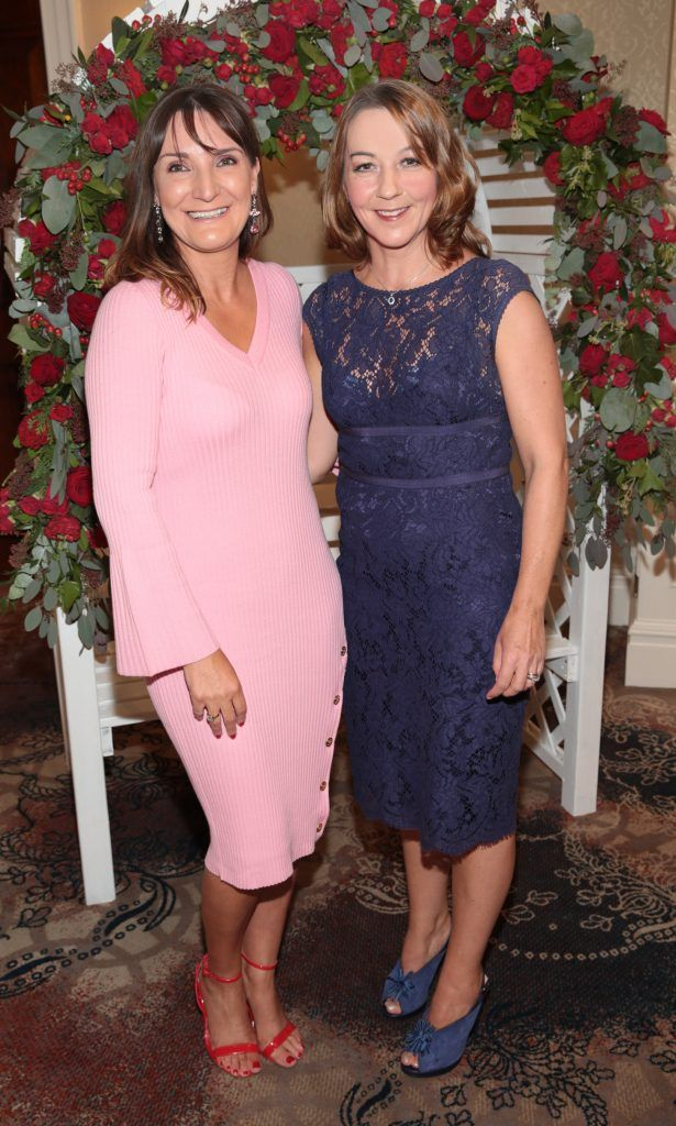 Helen McAndrews and Maria Freeman at the Shiseido International Charity Lunch and Fashion Show in aid of the Rape Crisis Centre hosted by catwalk queen Miss Candy at the Westin Hotel, Dublin. Picture by Brian McEvoy