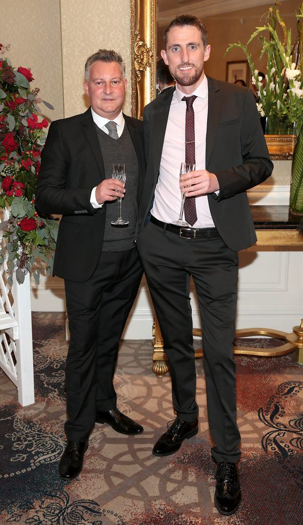 Keith Hallissey and Gary Byrne at the Shiseido International Charity Lunch and Fashion Show in aid of the Rape Crisis Centre hosted by catwalk queen Miss Candy at the Westin Hotel, Dublin. Picture by Brian McEvoy