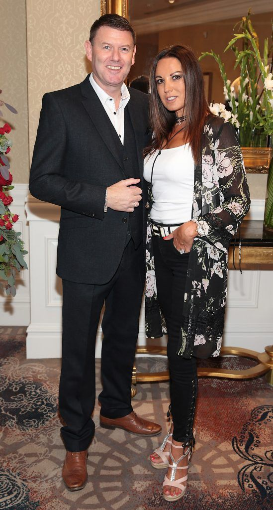 Robbie Kane and Jo Corcoran at the Shiseido International Charity Lunch and Fashion Show in aid of the Rape Crisis Centre hosted by catwalk queen Miss Candy at the Westin Hotel, Dublin. Picture by Brian McEvoy