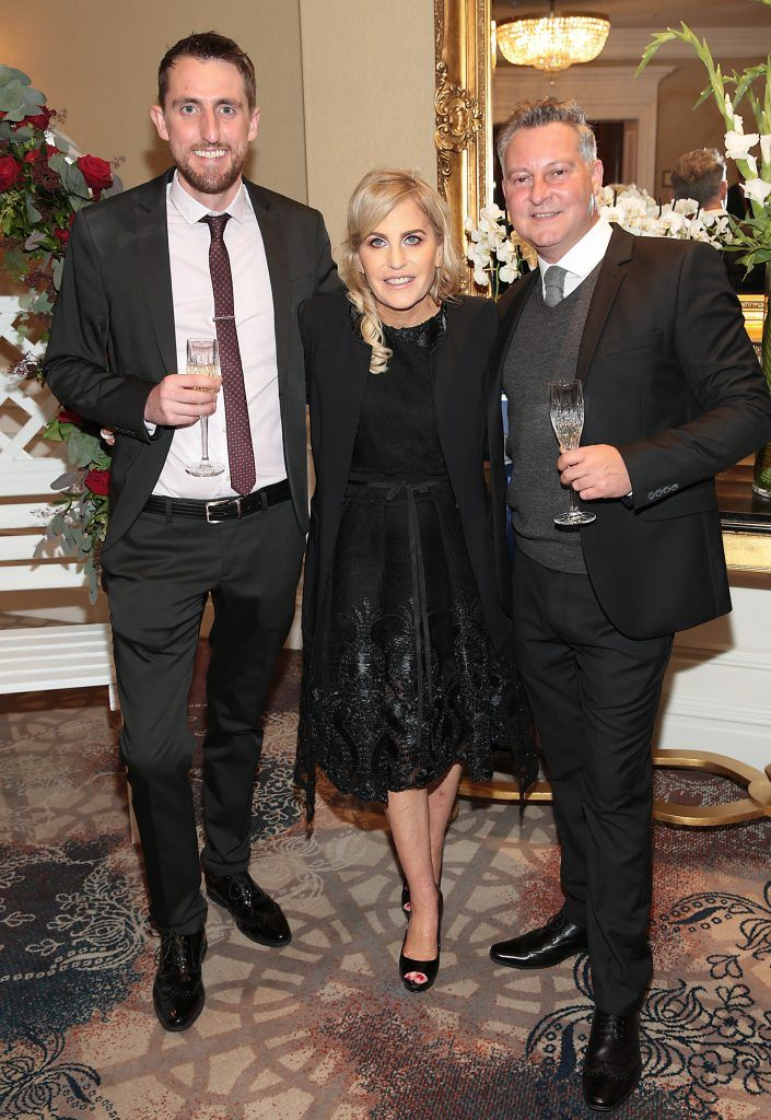 Gary Byrne, Cliona Crowley and Keith Hallissey at the Shiseido International Charity Lunch and Fashion Show in aid of the Rape Crisis Centre hosted by catwalk queen Miss Candy at the Westin Hotel, Dublin. Picture by Brian McEvoy
