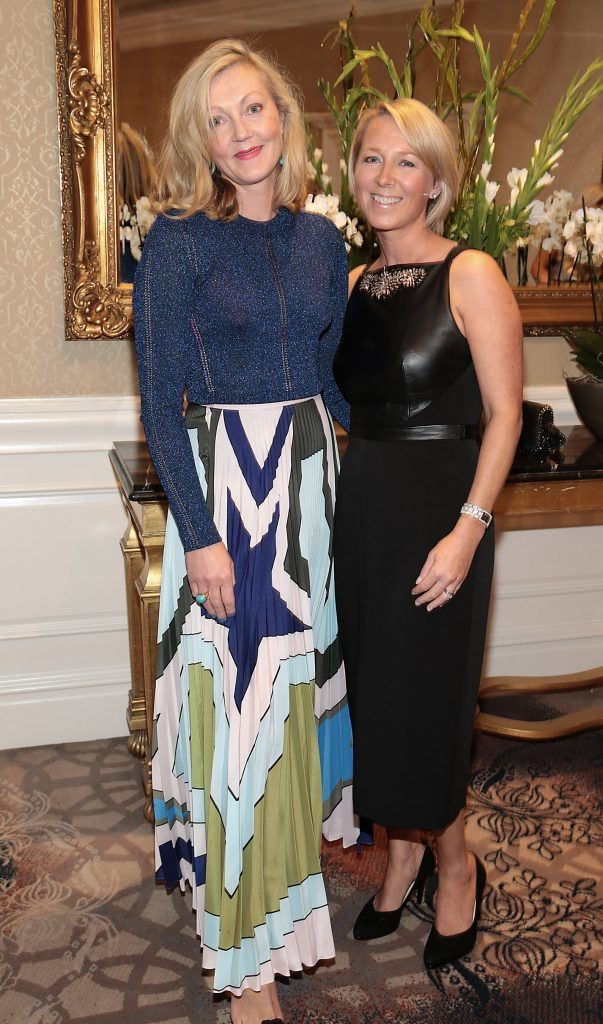 Susan Hunter and Neasa Murphy at the Shiseido International Charity Lunch and Fashion Show in aid of the Rape Crisis Centre hosted by catwalk queen Miss Candy at the Westin Hotel, Dublin. Picture by Brian McEvoy