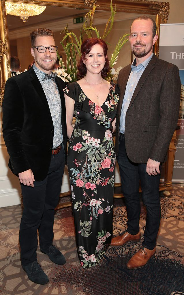 Rory Billing,Sara Falconer and Dave Seacy at the Shiseido International Charity Lunch and Fashion Show in aid of the Rape Crisis Centre hosted by catwalk queen Miss Candy at the Westin Hotel, Dublin. Picture by Brian McEvoy