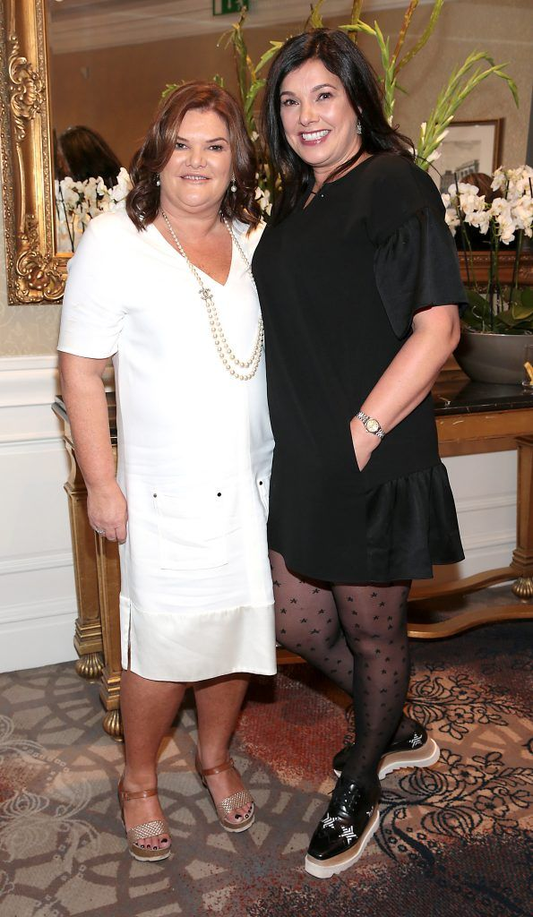 Claire Ronan and Lesley Foley at the Shiseido International Charity Lunch and Fashion Show in aid of the Rape Crisis Centre hosted by catwalk queen Miss Candy at the Westin Hotel, Dublin. Picture by Brian McEvoy