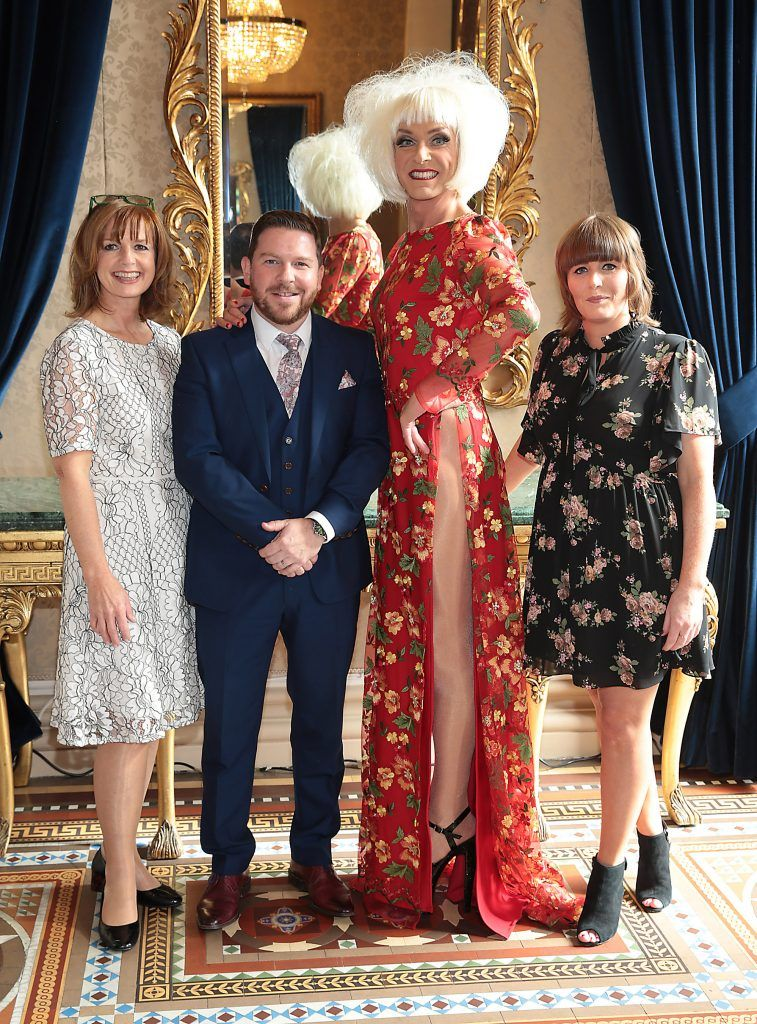 Anna Keogh Kieran Drumm, Miss Candy and Niamh Wilson at the Shiseido International Charity Lunch and Fashion Show in aid of the Rape Crisis Centre hosted by catwalk queen Miss Candy at the Westin Hotel, Dublin. Picture by Brian McEvoy