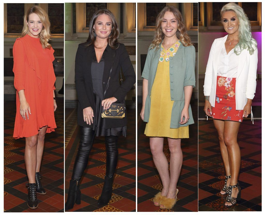 Aoibhin Garrihy, Jodie Wood, Emma Manley and Diane Everett at the launch of Urban Decay's Troublemaker Mascara at St. Patrick's Cathedral, Dublin. Photo by Brian McEvoy Photography