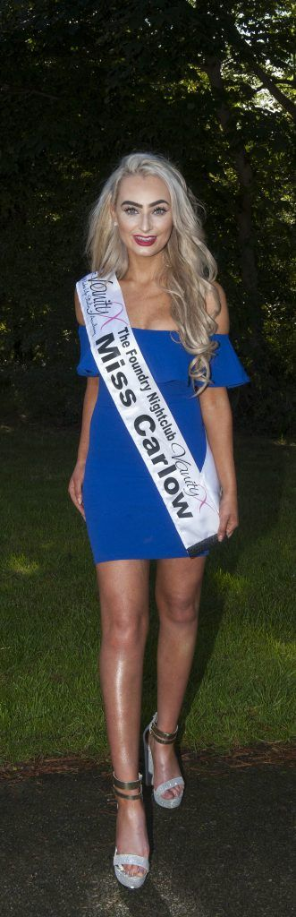 Derbhla Kelly, Miss Carlow. Age 23 and is from Castle town Cross, Carlow. She has a BA Cumarsáid (Media & Communications as Gaeilge) currently working part-time in retail and hostess in nightclub. Pic Patrick O'Leary