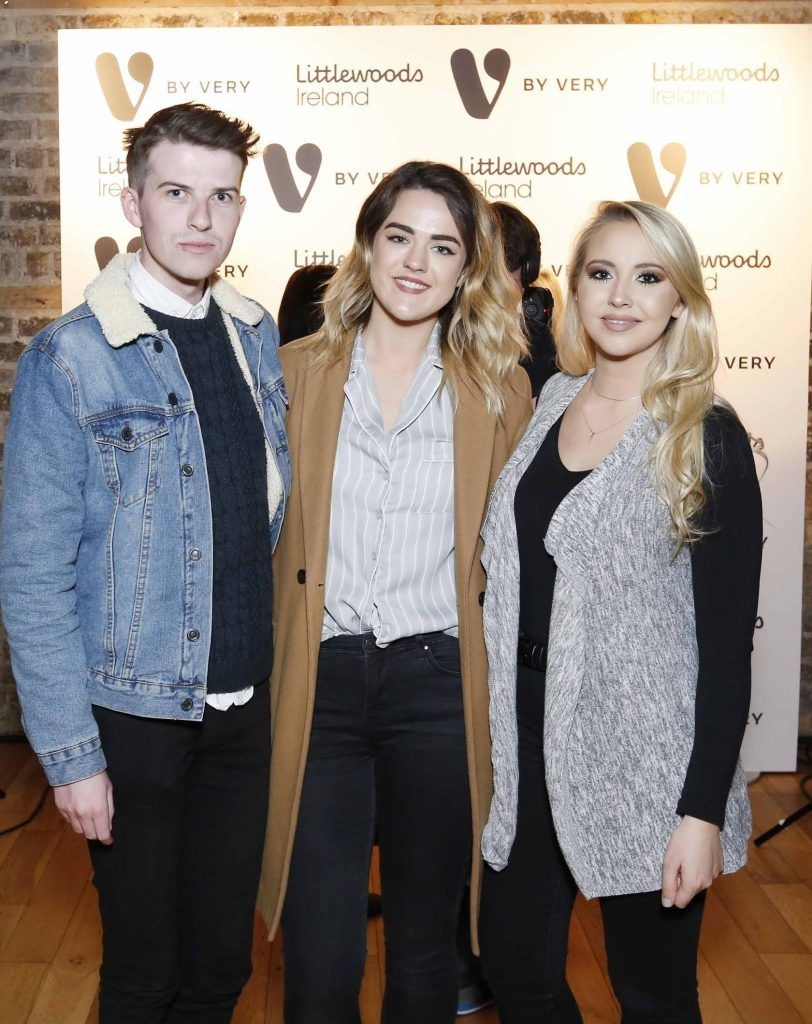 Mikie O'Loughlin, Aine O'Donnell and Kendra Becter at the launch of the V by Very Autumn/Winter range at Smock Alley Theatre (20th September 2017), available exclusively to LittlewoodsIreland.ie - Photo: Sasko Lazarov/Photocall Ireland