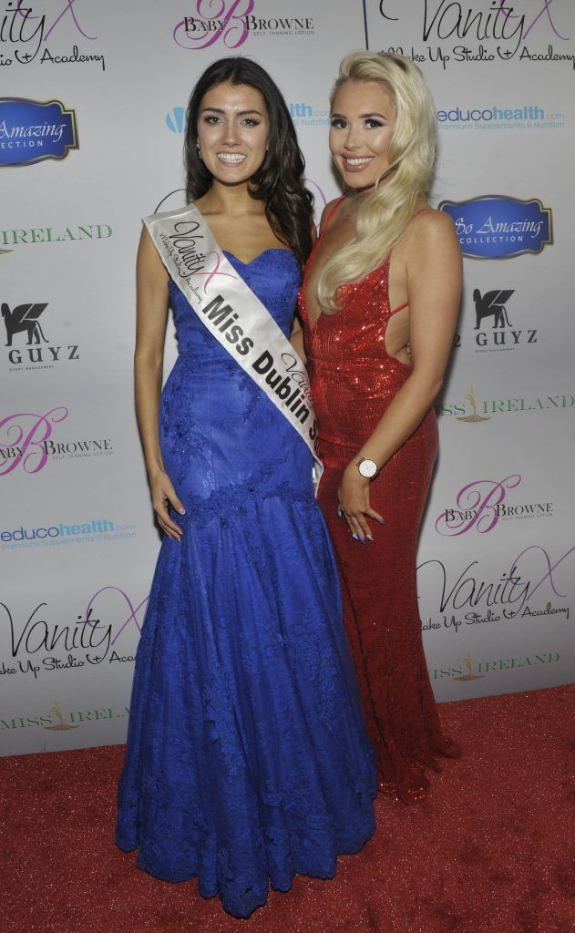 Miss Dublin South Zoe Sohun and Shannen Reilly McGrath from Love Island at the Best of Irish Beauty and Brains Vie For Miss Ireland 2017 Victory. Photo by Patrick O'Leary
