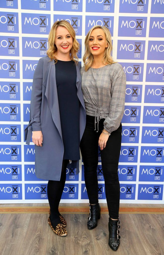 Debbie McCarthy, left, and Ally McGinn at the launch for the latest innovation from Moxi Loves. Tan Aid,  a handy little tan removing wipe, the perfect solution to any tanning disasters. PHOTO: Mark Stedman