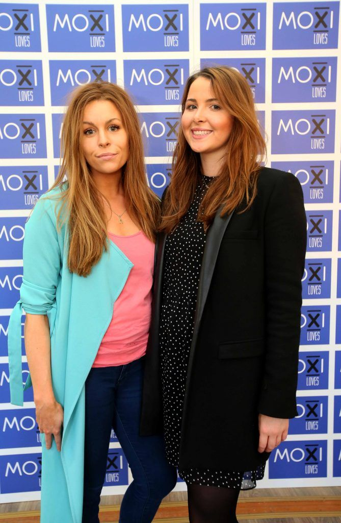 Katie Moran, left, and Kate O'Donoghue at the launch for the latest innovation from Moxi Loves. Tan Aid,  a handy little tan removing wipe, the perfect solution to any tanning disasters. PHOTO: Mark Stedman