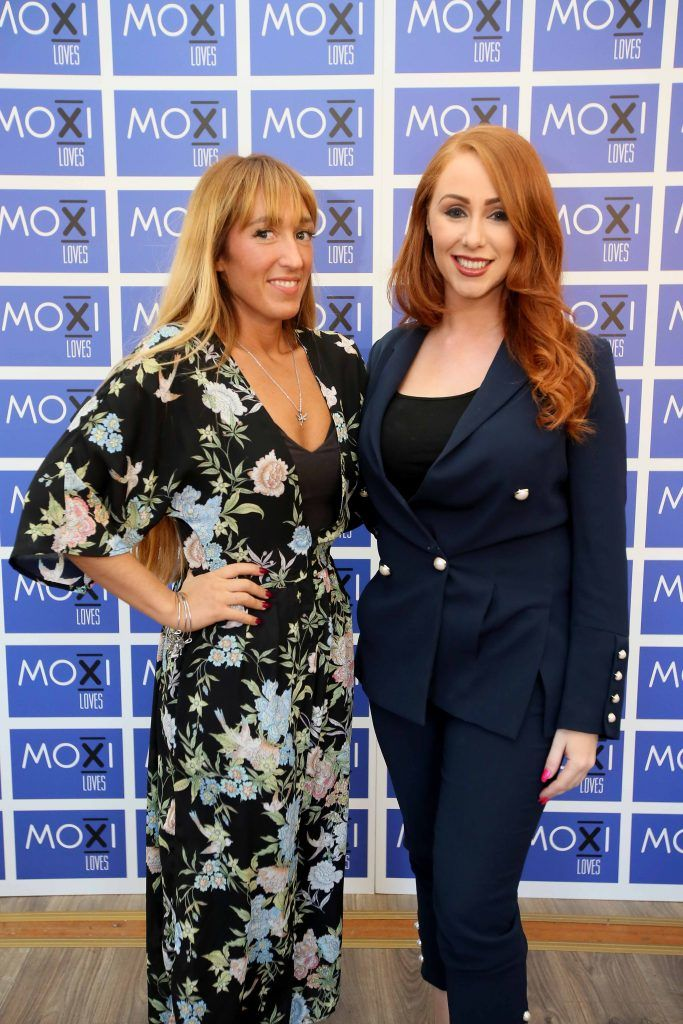Kirstyn-Leigh Redmond Chase, left, and Gemmarose O'Brien at the launch for the latest innovation from Moxi Loves. Tan Aid,  a handy little tan removing wipe, the perfect solution to any tanning disasters. PHOTO: Mark Stedman